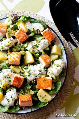 Plat : salade de saumon et concombre