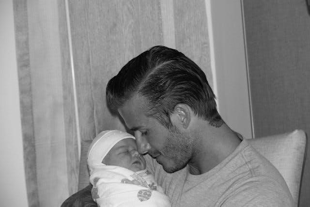 David Beckham et Harper à la naissance