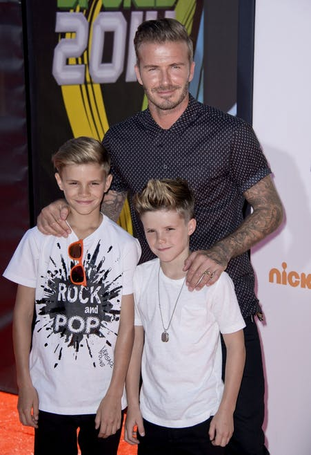 David et ses fils sur la tapis rouge