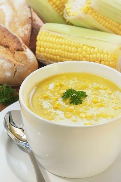 Soupe de maïs à la coriandre