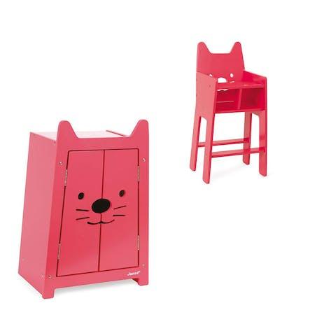 Armoire et chaise haute de poupée Janod