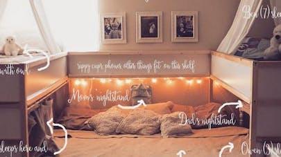 Des parents aménagent un lit Ikea pour dormir avec leurs   cinq enfants