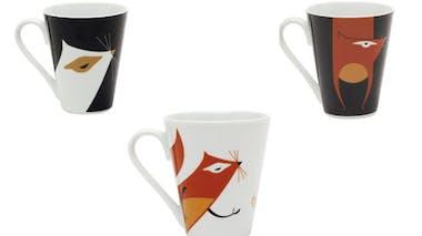 Mugs coniques imprimés « Ecureuil » en porcelaine