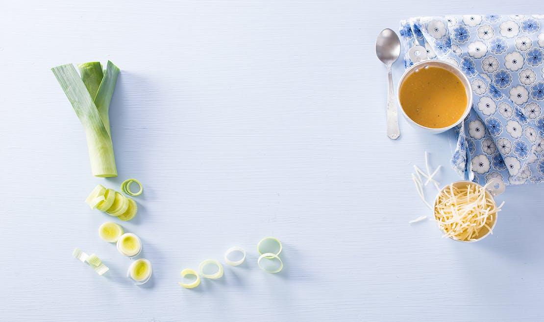 Potage aux légumes et fromage