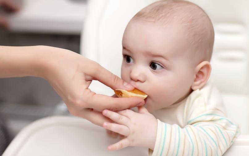 bébé curieux goûte une orange