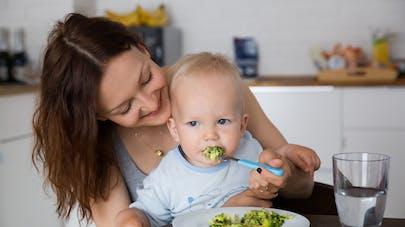 bébé mangeant des brocolis sur les genoux de sa maman