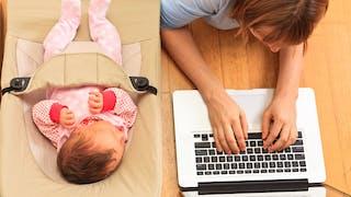 une mère travaille sur son ordi à coté de son bébé