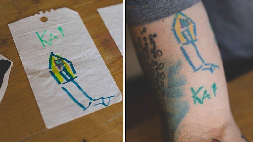 Un papa se fait tatouer les dessins de son enfant (PHOTOS)