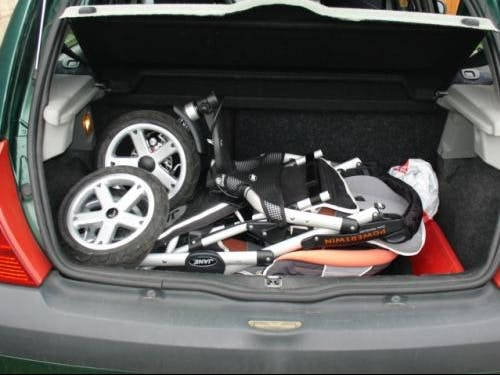 Poussette double Powertwin Pro de Jané - pliée compacte coffre voiture