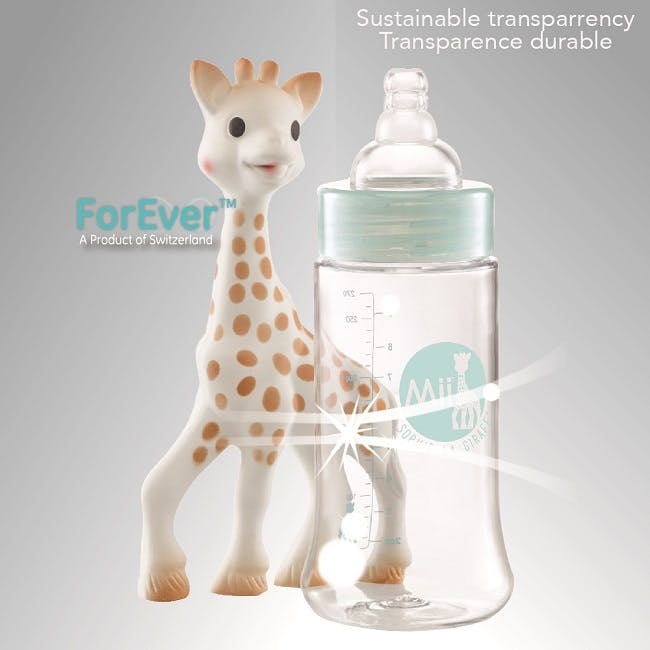 Biberons Mii Sophie la Girafe de Vulli - transparence durable