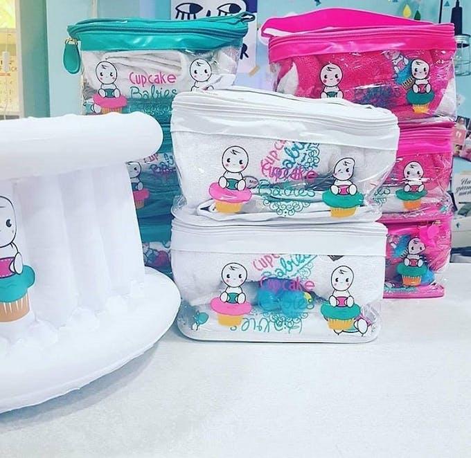 Baignoire gonflable Cupcake Babies - pochette trousse voyage