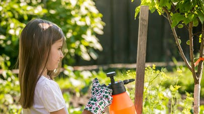 fillette au jardin avec pesticides