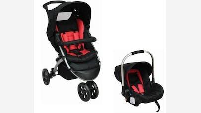 Poussette duo Tex Baby de Carrefour : compatible avec siège-coque 0+