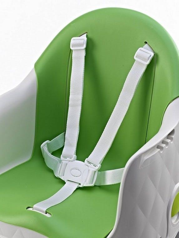 Chaise haute Multi Dine de Babytolove - harnais de sécurité 5 points vert lime