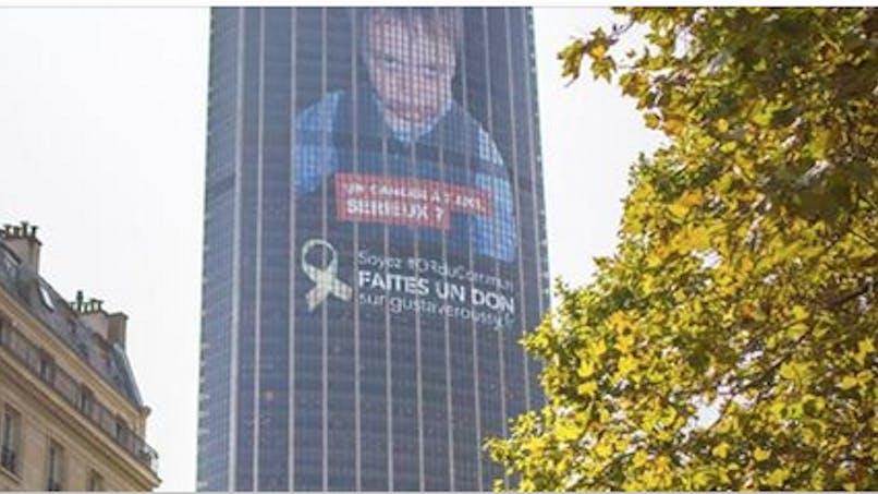 Noé, 10 ans, décédé d'un cancer, en poster sur la Tour Montparnasse pour lutter contre les cancers des enfants