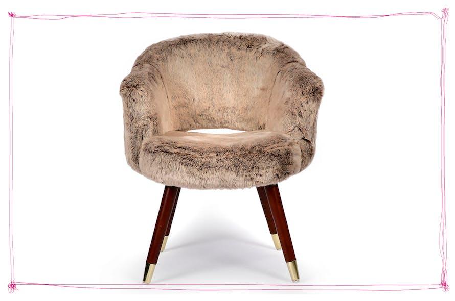 fauteuil en fausse fourrure gris