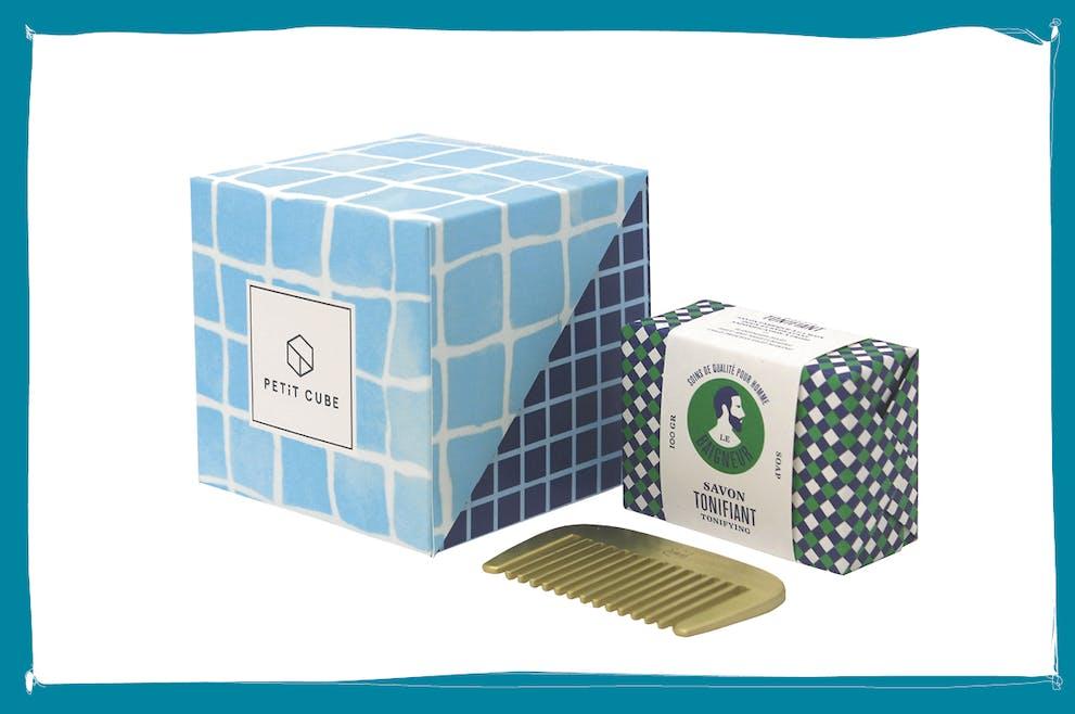 Cadeau Petit cube, savon + peigne, pour la Fête des pères