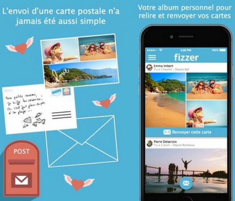 application Fizzer envoi cartes postales smartphone