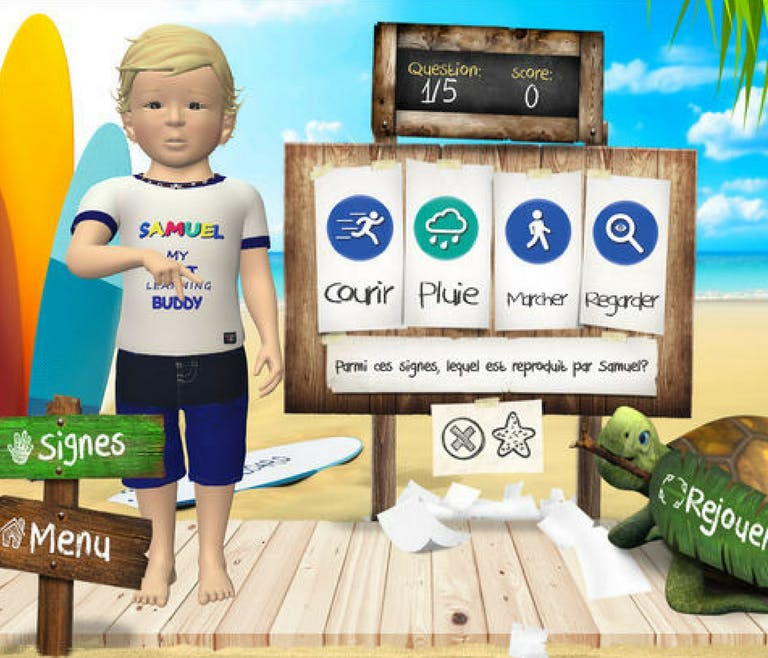 application langue des signes Samuel à la plage