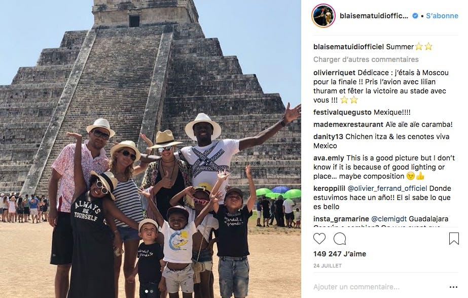 Blaise Matuidi et sa smala devant une pyramide Maya au Mexique