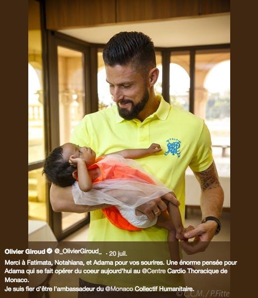 Olivier Giroud n'a pas dévoilé de photo avec ses enfants, mais a donné du temps à ceux qui sont hospitalisés