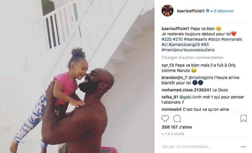 Remis en liberté après sa bagarre avec Booba, le rappeur Kaaris retrouve sa fille