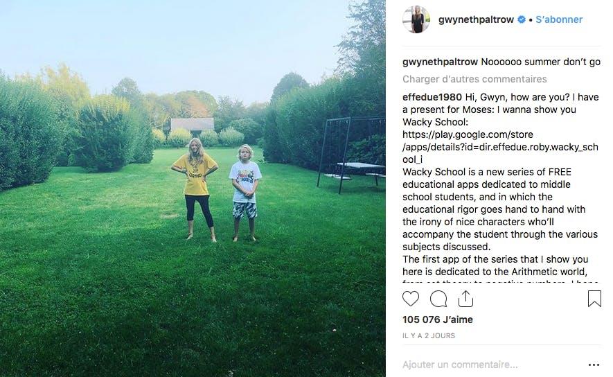 Bientôt la rentrée pour les grands enfants de Gwyneth Paltrow