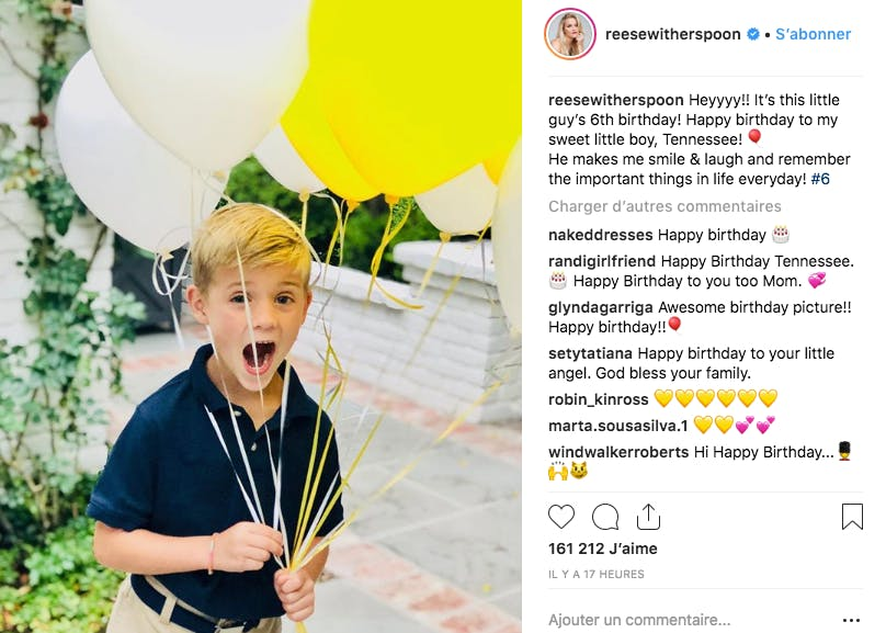 C'est aussi l'anniversaire de Tennessee, le fils de Reese Whitherspoon