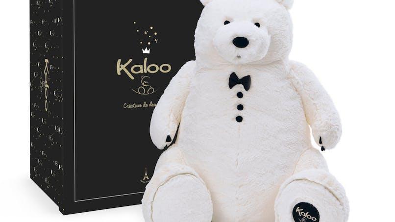 ours blanc géant en peluche avec couronne dorée Kaloo