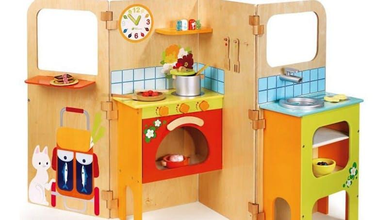 Cuisine pour enfants en forme de paravent pour gain de place