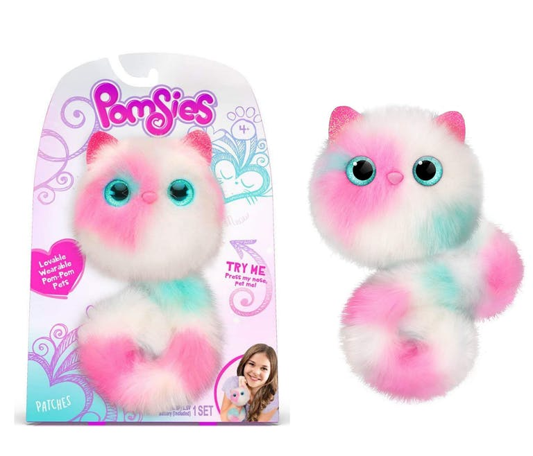 peluche interactive Pomsies blanche et rose Bandaï