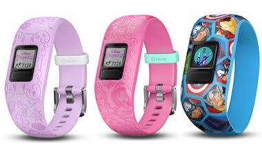 trois montres connectées Princesses et Avengers Garmin