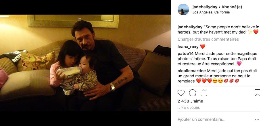 De retour en France, Jade Hallyday a une douce pensée pour son papa