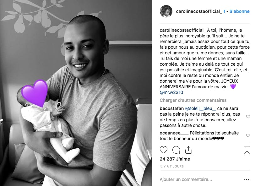 La jeune chanteuse Caroline Costa a mis au monde son premier enfant et rend hommage à son compagnon
