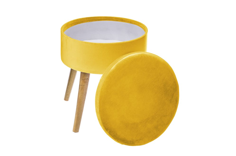 Tabouret coffre jaune moutarde