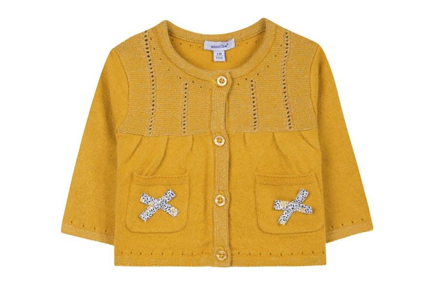Gilet bébé jaune moutarde