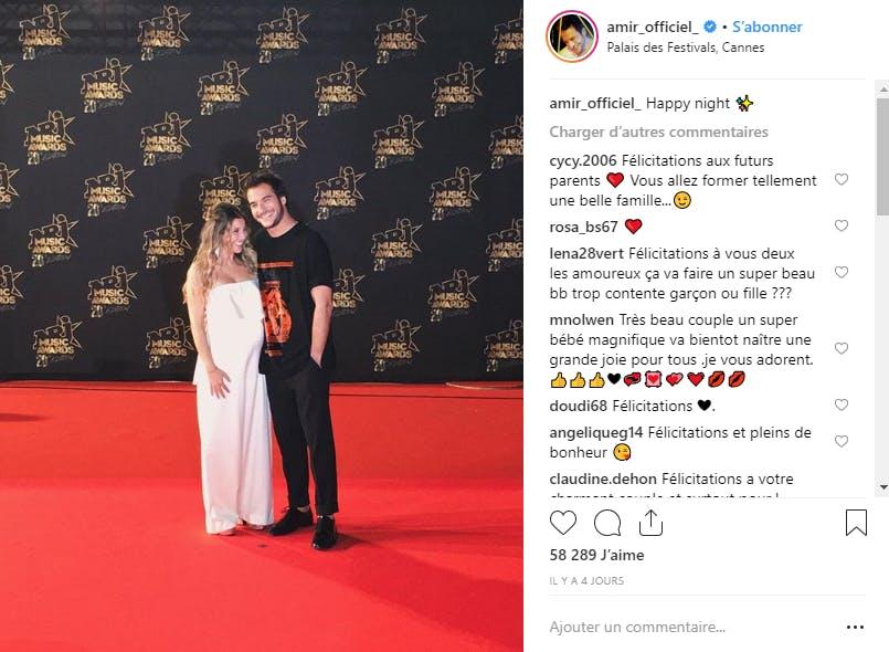 Sur le tapis rouge des NRJ Music Awards, le chanteur Amir et sa femme ont annoncé un heureux évènement