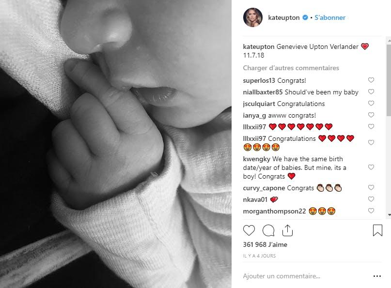 Le top Kate Upton vient de donner naissance à une petite Genevieve