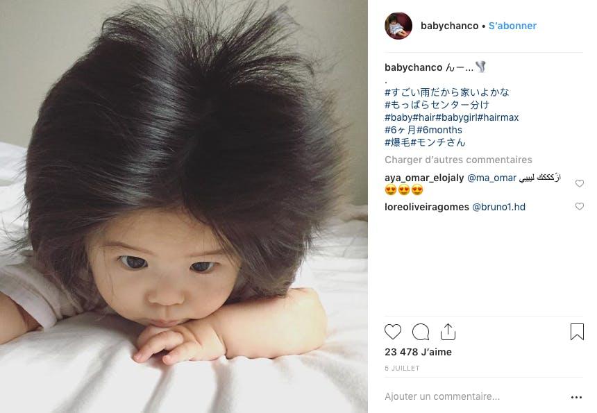 Née en décembre Baby Chanco et sa chevelure ont plus de 300 000 abonnés sur Instagram