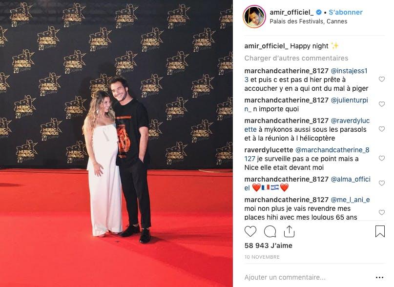 Le chanteur Amir et sa compagne ont profité du tapis rouge pour annoncer une bonne nouvelle