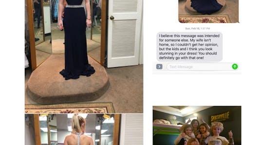 Elle envoie la photo de sa robe à la mauvaise personne et la réponse est adorable