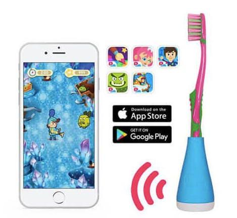 Playbrush rose et smartphone