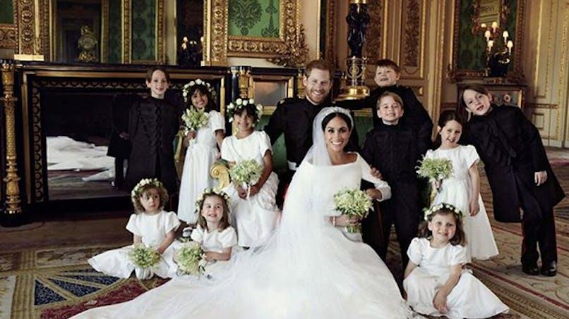 Mariage princier : Meghan Markle et le prince Harry entourés de tous les enfants d'honneur (photos)