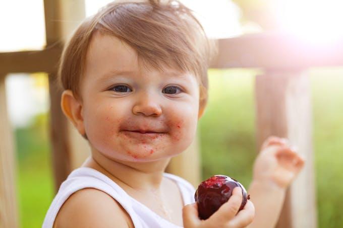 Un petit garçon mange une pomme