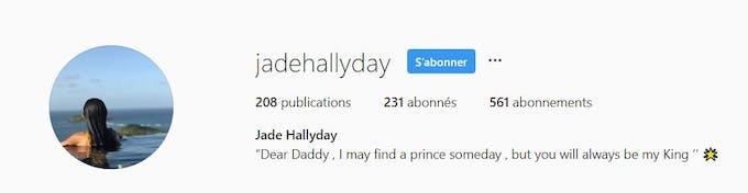 Instagram Jade Hallyday : capture