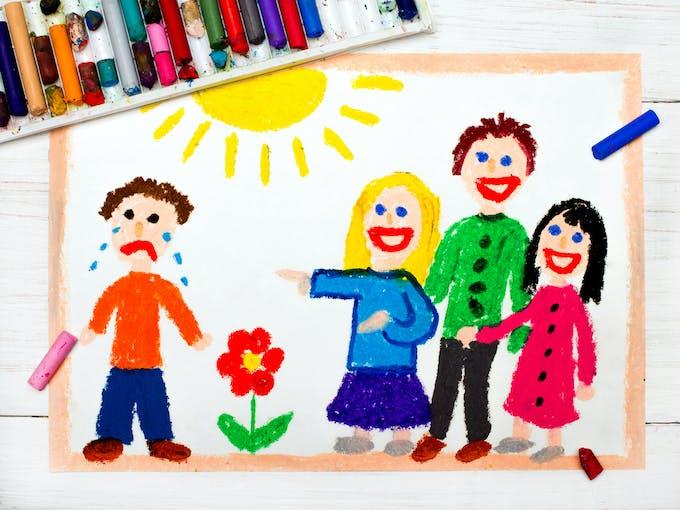 dessin qui représente le harcèlement scolaire