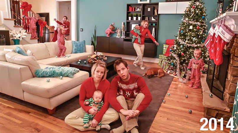 Un papa illustre avec humour à quoi ressemble VRAIMENT un Noël avec des enfants (photos)