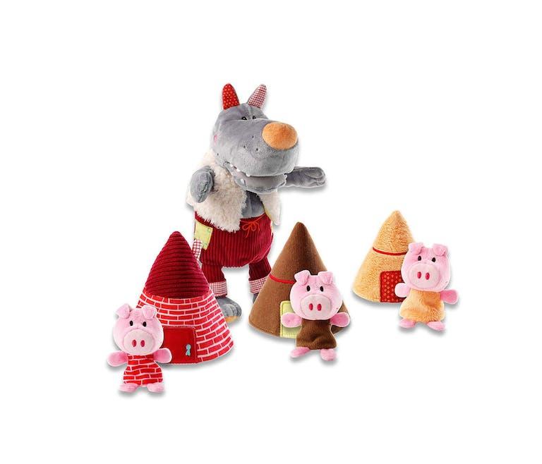 Les marionnettes Nicolas Le Loup et les 3 petits cochons