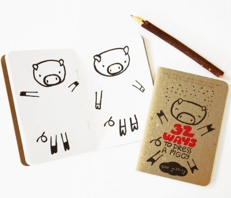 cahier de dessin vêtements cochon