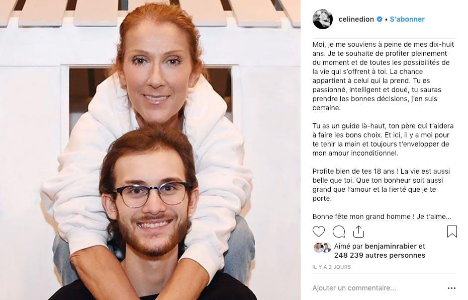 Céline Dion a livré un joli message d'amour pour les 18 ans de son fils